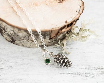 Sterling Silver Pinecone Necklace, Tiny Pine Cone Jewelry, Woodland Necklace, Forester Jewelry, Nature Jewelry, Fall Jewelry, Pinecone Charm