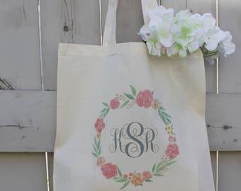Monogrammed Tote Bags, Flower Wreath Tote Bags, Wedding Tote Bag, Bridal Tote Bags, Bridesmaid Tote Bag, Monogram Tote Bags, Teacher Tote