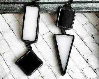 Stained Glass Earrings, Asymmetrical Earrings, Geometric Earrings, Black and White Earrings, Mismatched Earrings, Statement Earrings