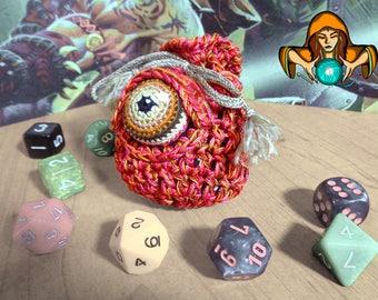 Eyeball Drawstring Dice Bag - Small - Orange/Pink/Brown