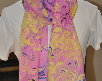 The Swirl pink 100% silk scarf