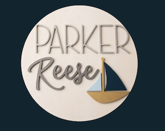 "12"" 3D Personalized Round Sign, Wood Nursery Name Sign with Sailboat, Nursery Decor, Nautical Nursery, 12 Inch Circle, Sailboat Nursery Sign"