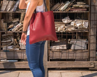 Leather tote bag - Oxblood leather tote - Full grain leather tote - Tote bag leather - Tote bag - Leather Bag - VENEZIA Bag