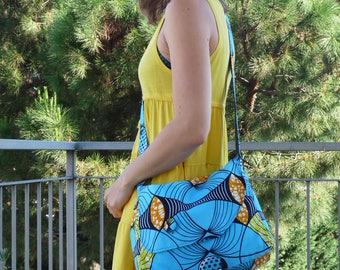 Blue African wax fabric shoulder bag handbag/messenger bag blue/blue/turquoise fabric bag handbag in wax
