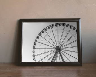 Ferris Wheel Wall Art Print, Black and White Print, Ferris Wheel Photography Digital Download Wall Art, Downloadable