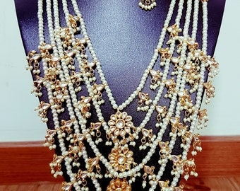 Gorgeous Indian paanch lada kundan haar 5 layer necklace bridal party wear necklace with earrings set