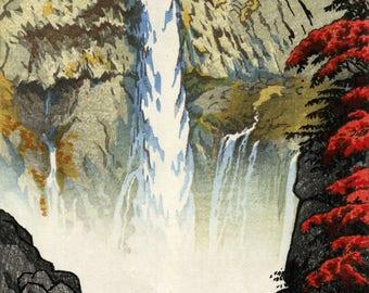 "Japanese Art Print ""Kegon Waterfall"" by Kasamatsu Shiro, woodblock print reproduction, cultural art, Autumn, leaves, mountain, stream"
