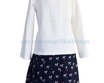 Sweet bow print mock two-piece dress - Handmade Boatneck Shirt Dress