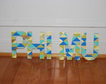 Geometric Pattern Painted 5 inch Letters