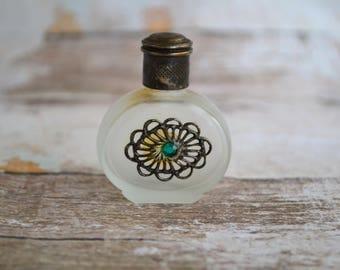Vintage  miniature parfume bottle.Satin perfume bottle.Perfume bottle with nickel silver ornament.Gift for Her.Perfume bottle from 70's