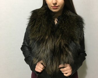 Real Natural Green-black Fox Fur Collar
