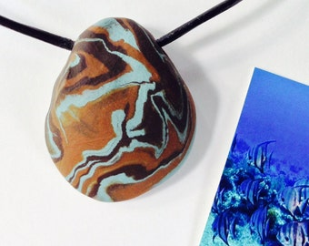 WATER 28 Nature Elements Necklace Unique Handmade Artistic Pendant Stone Adjustable Leather Cord Perfect Gift for Her