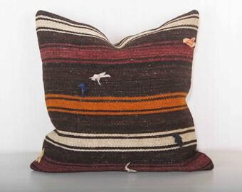 brown pillows, bohemian pillows, hippie pillows, 20x20 kilim pillow covers, hippie decor, striped pillow, gift for her KP10067