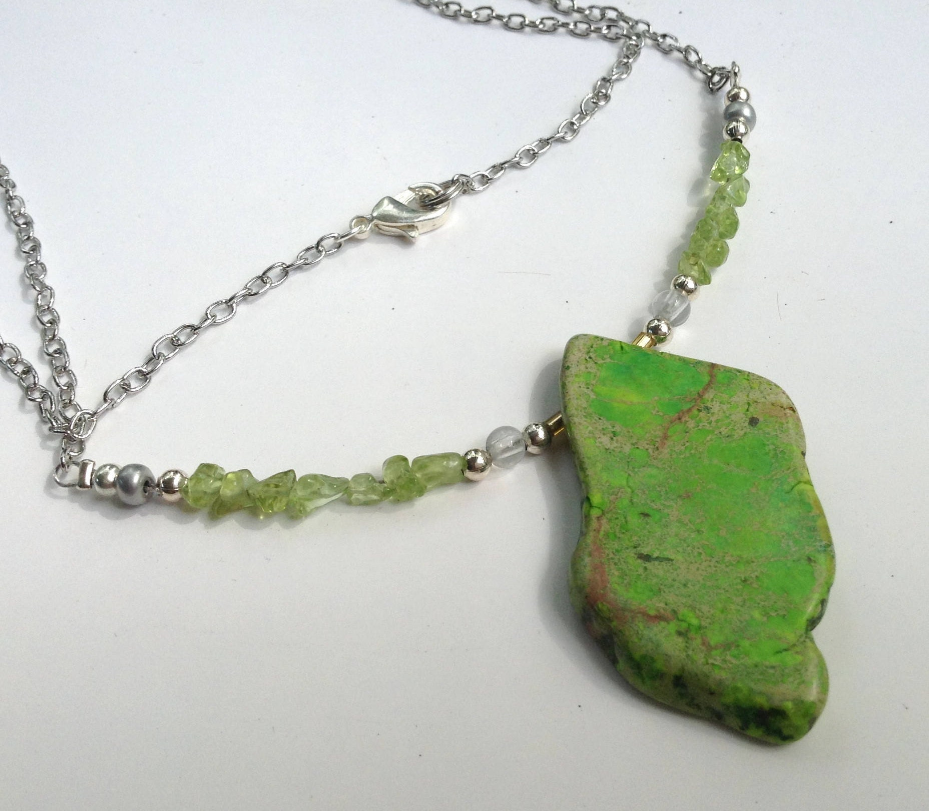 Wonderful Bright Green Stone Necklace; with Natural Raw Peridot and Silver  NT15