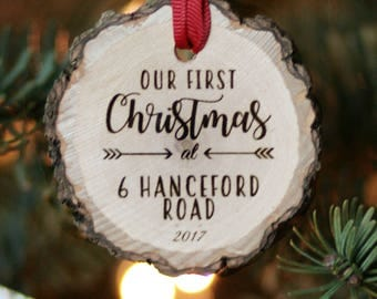 Our First Home Personalized Wooden Ornament, First Christmas in New Home Ornament, Housewarming gift, Rustic Wood Slice, Realtor Gift
