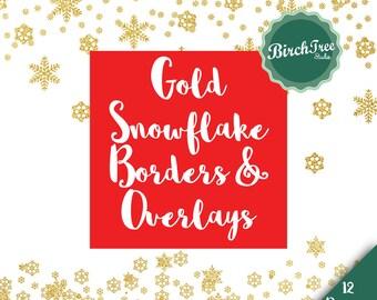 Snowflake Clipart Glitter Borders - Gold Glitter Confetti Clipart - Scrapbooking - Christmas Decoration -  Border Clipart - Instant Download