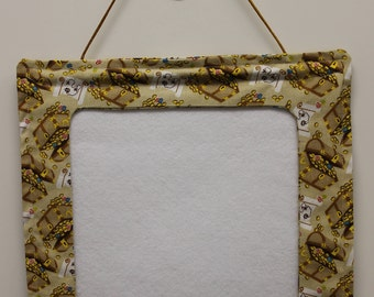 Handmade gold/tan fabric picture frame for photos or needlework