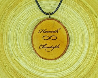 Soul slices infinity with name//wood necklace//vintage//Ethnoschmuck//Hippie//BOHO//Statement//Valentine's Day//anniversary//Love