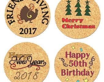 Set of 4 Custom Cork Coasters