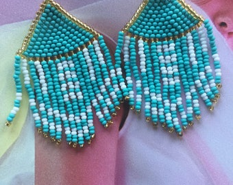 Turquoise Diamond-shaped tassel earrings