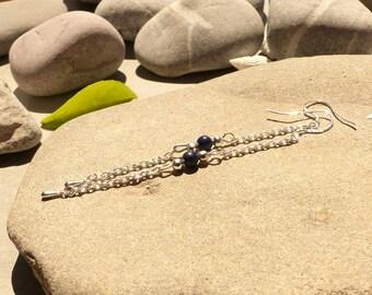 """Earrings """"Caribbean, lapis lazuli, lapis lazuli designer jewelry earrings, lapis lazuli earrings"""
