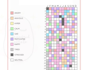 A Year in Pixels (A5) - Bullet Journal Inspired Daily Mood Tracker   Minimalist Tracker for A5 Size Planners   Instant Digital Download, PDF