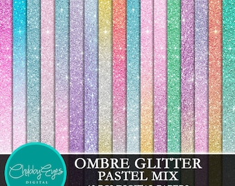 Pastel Ombre Glitter Digital Papers, Pastel Color Scrapbook Papers Glitter Clipart  Instant Download