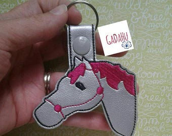 Horse Key Snap Tab Embroidery Design 4X4 size