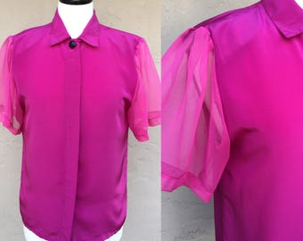 Vintage 80s 90s Magenta Blouse/ Impressions of California/ Sheer Sleeves/ Bright Pink/ Bright Purple/ Vintage Blouse/ 80s Blouse/ 90s Blouse
