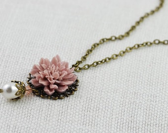 Dusty Pink Necklace, Vintage Style Necklace, Country Chic, Flower Necklace, Bronze Necklace, Bridesmaids Necklace, Swarovski Pearl Necklace