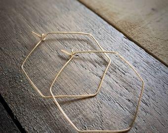 Gold Hexagon Hoop Earrings / Hammered Hoop Earrings  / Everyday Hoop Earrings