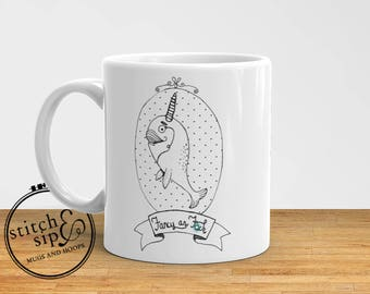 Fancy as F*ck, Narwhal - Funny Coffee Mug, Narwhal lovers, Narwhal Mug, Fancy Mug, Cuss, Curse, Fuck, Christmas Gift, 11 oz., 15oz.