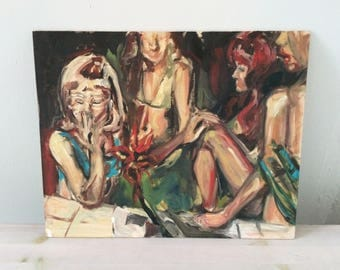 70s Party Oil Painting Study on Wood