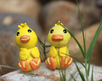 Set of 2, Polymer Clay Ducks, Polymer Clay Ducklings, Baby Ducks, Easter, Polymer Clay, Clay