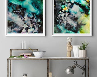 Set of 2 wall Art, Set of Prints, Two Prints, Earth Print, Two art Prints, Print Set, Abstract, wall art, Giclee print set
