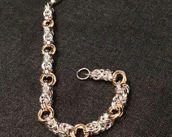 Sterling Silver and Gold-fill Byzantine Rosette Bracelet