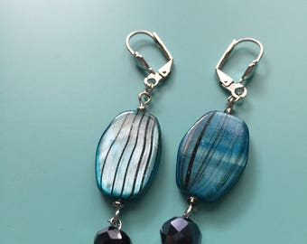 Silver Earrings / Dangle Earrings / Turquoise & Black Earrings / Drop Earrings / Gift For Her / Bridesmaid Gift / Statement Earrings