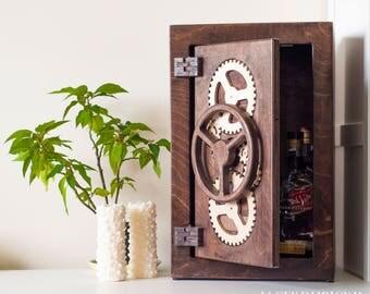 Wooden safe - bar - dark brown - handmade