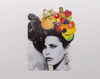 woman with fruit, original paper collage