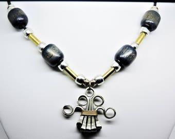 Vintage Brutalist Modernist Mixed Metals Wood Necklace
