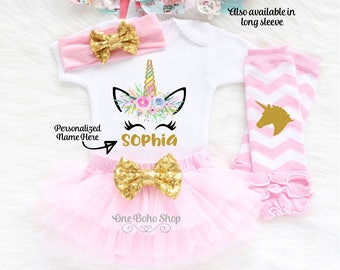 Personalized Unicorn Birthday Shirt, First Birthday Unicorn Outfit Girl, 2nd Birthday Unicorn Outfit, 3rd Birthday Unicorn Birthday  U1LP