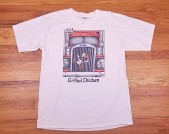 Vintage 90s 1997 Trucker Funny Grilled Chicken Comic T Shirt Size Large L