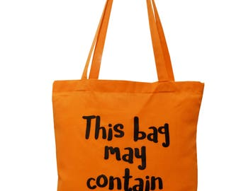 Funny 'May contain cake!' Melon coloured cotton Tote Bag