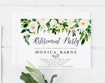 White Floral Retirement Party Invitation Template Printable Farewell Party Invitation  Template Send Off Party Greenery Retirement  Invitation Template