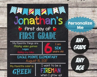 First Day of FIRST GRADE Sign First Day of School sign First Day of School Chalkboard Printable Personalized Back to School Sign ANYgrade #2