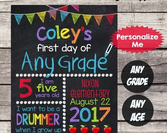 First Day of School sign First Day of School Chalkboard Sign Printable Personalized Sign Back to School Sign photo prop ANY Grade AnyAge #22