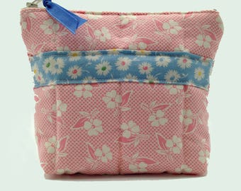 Pink Floral Quilted Cosmetic Bag with Blue Floral Stripe