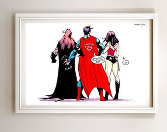 Superman Batman Wonder Woman Trinity Art Print Poster Super Hero Digital Art DC Comics