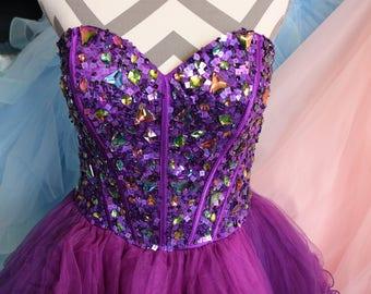Let's Fashion Purple Party Dress