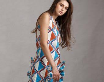 Maarimaia Sleeveless Print RUFFLED Pocket Shift Mini in White | Frill Dress| Oversized Pocket | Print Dress | Beach Dress | Ruffled Dress |